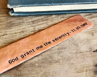 Serenity Prayer, Copper Bookmark, Personalized Sobriety Anniversary Date, 12 Step, Al Anon, Sobriety Gift, AA NA Addiction Recovery Gifts