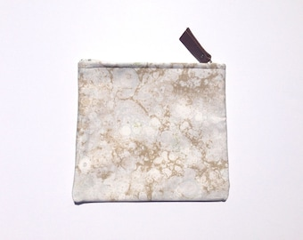 Taupe Marbleized Print Zippered Pouch