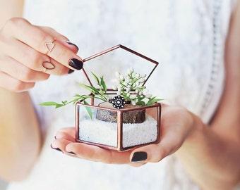 Glass Ring Box, Wedding Ring Box, Ring Bearer Box, Bridesmaid Gift, Geometric Jewelry Box, Rose Gold Ring Box, Ring Pillow, Pentagon Box