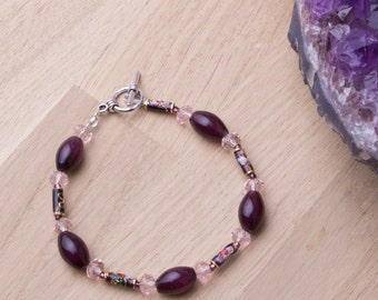 Purple Beaded bracelet - Deep Purple and pink cloisonne bracelet | Cloisonne jewellery | Purple bead jewelry | Gift for her