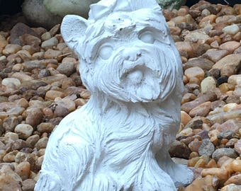 Concrete Cement Terrier with Bow statue Lawn and Garden Decor