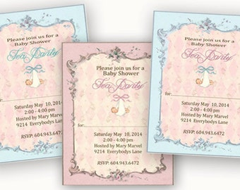 Baby Shower Invitation, Digital Download, Custom Order, Printable invitation, Pink or Blue Baby party, party supplies, New Baby, Baby Shower