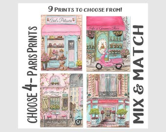 Pink Paris Bedroom Decor, Set Of 4 Baby Girl Travel Nursery Prints, Paris Themed Party Baby Shower Gift Idea, Personalized, Choose 4 Prints