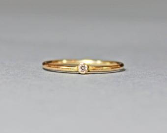 14K Gold Filled White Topaz Stacking Ring - Gold Ring - Gold Stacking Ring - April Birthstone Ring