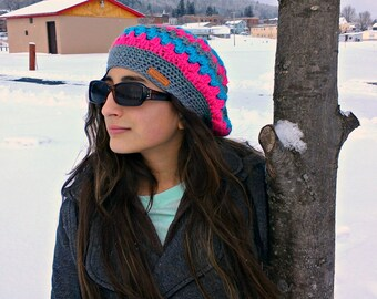 slouchy hat| striped slouchy beanie| ladies winter hat| pink stripe hat| beret