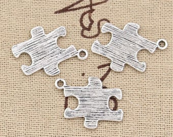 4 Puzzle Piece Charms Silver Tone Double Sided Ribbed Texture Autism Awareness Charms Jigsaw Puzzle Piece Charms Charm Bracelet  #895