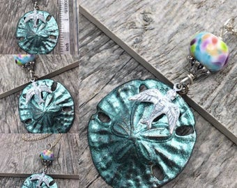 Sand Dollar Seagull Necklace with Lamp Work Glass Beads, Silver Chain, Free Shipping, Enameled Pendant, Beach Theme