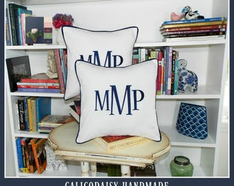 Monogrammed Pillow Cover - Set of Two - Large Font - 14 x 14 square