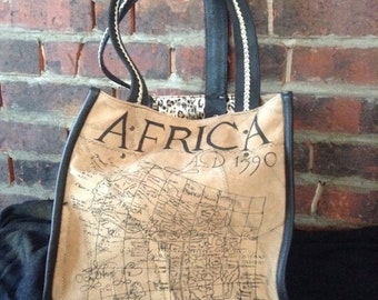 Exotic Vintage Style Map of Africa Leather Tote Bag