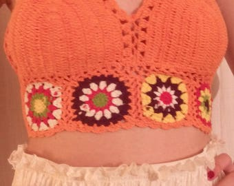 Strapless backless crochet handmade orange color