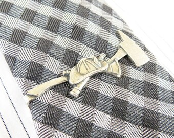 Fireman Tie Bar- Firefighter Tie Clip- Firefighter Tie Pin- Sterling Silver Or Antiqued Brass Finish