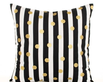 SALE ENDS SOON Black and Gold Throw Pillow Cover, Gold Polka Dot Pillow, Black and White Striped Pillowcase, Gold Dots, Metallic Gold Pillow
