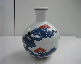 Vintage TIFFANY & CO. Signed White/Multi-colored Asian Scenery Porcelain Bud Vase