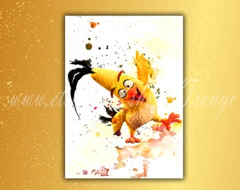 Angry Birds, Chuck, poster, print, watercolor, Angry Bird, Chuck painting, angry birds movie, angry birds, yellow bird, Kids room, gift T44