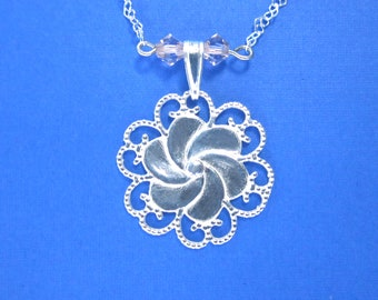 Flower Heart Charm with Heart Chain Necklace 925 Sterling Silver