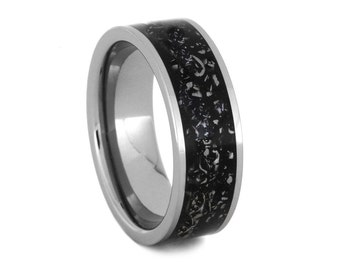 Meteorite Ring, Stardust Titanium Ring, Alternative Wedding Band, Meteorite Wedding Band, Womens and Mens Meteorite Ring