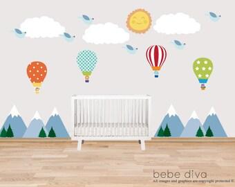Mountain Wall Decals Hot Air Balloons, Nursery Wall Decal, Kids Wall Decal, Wall Decals Nursery, Baby Wall Decal, Boy Wall Decal, Neutral
