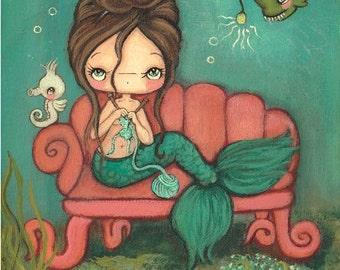 Mermaid Print Nautical Art Girl Seahorse Children Wall Art Decor---The Knitting Mermaid 11 x 14 Large Print
