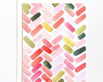 Pink & Orange Herringbone - A2 Greeting Card