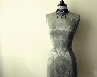 Interior Design Mannequin Damask Corset Laced Home Decor Dressform Bust - Celia in Grey