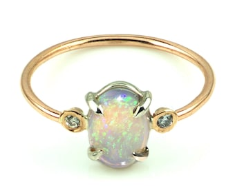 14k Gold Opal and Diamond Ring, Opal Engagemnt Ring, 14k Rose Gold Opal Ring
