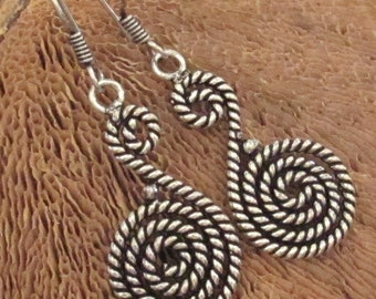 On Sale - Rustic Burnished Silver Braided Wirework Long Drop Earrings