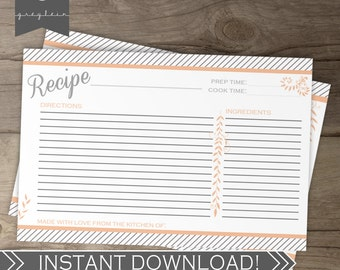 Recipe Cards / Peach Coral Salmon Grey Stripes / DIY Printable Instant Download / Bridal Shower package
