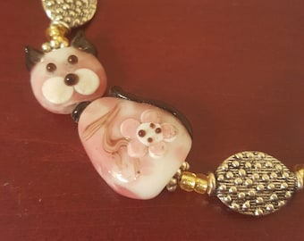 Pretty Lampwork Kitty Cat bracelet just for you!