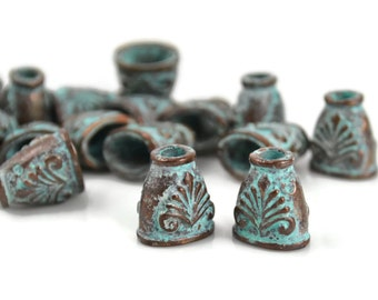 Classic End Cap - Green Patina - 11x12mm - Mykonos Beads - QTY: 4, 8 or 12