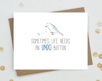 Cute sorry card, Funny apology card, Sorry Undo Button Card, Sorry Greeting Card, Nerdy Sorry Card, Sorry Friend Card - (EV01)