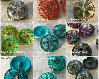 NEW 27mm Czech Buttons, 27mm wheel, 9 colors, Czech glass buttons, glass buttons, Buttons, 27mm buttons, Czech glass, wheel motif button