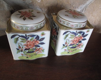 Pair Tea Tins, Floral, Chinoiserie Chic, Ivory, Coral, Purple, Green, Candy Tin, Confection Tin, Decorative Tea Tin