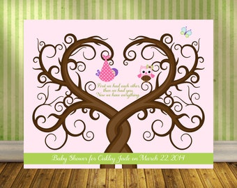 Baby Guestbook Alternative, Baby Shower Fingerprint Tree Wall Print, Shower Gift for Baby Girl, Fingerprint Guest Tree, Baby Shower