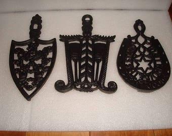 Set Of Three Vintage Black Cast Trivets