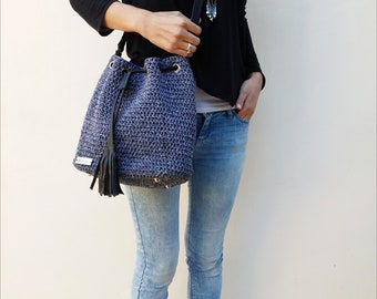 "Crochet bucket bag, Crochet bag, bucket bag, luxury bag, The ""bucket"""