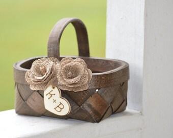 rustic flower girl basket, burlap flower girl basket, country wedding, rustic wedding decor B105