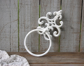 Shabby Chic Towel Holder, White, Hand Painted, Cast Iron, Metal, Distressed, Towel Ring, French Decor, Hand Towel Holder