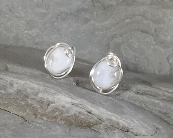 Wire Wrapped Moonstone Stud Earrings, Moonstone Studs, Moonstone Earrings Silver, Rainbow Moonstone Earrings, June Birthstone, Gift for Her