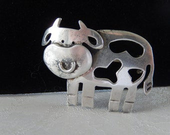 Sterling Cow Brooch, Lapel Pin, Gift for Her