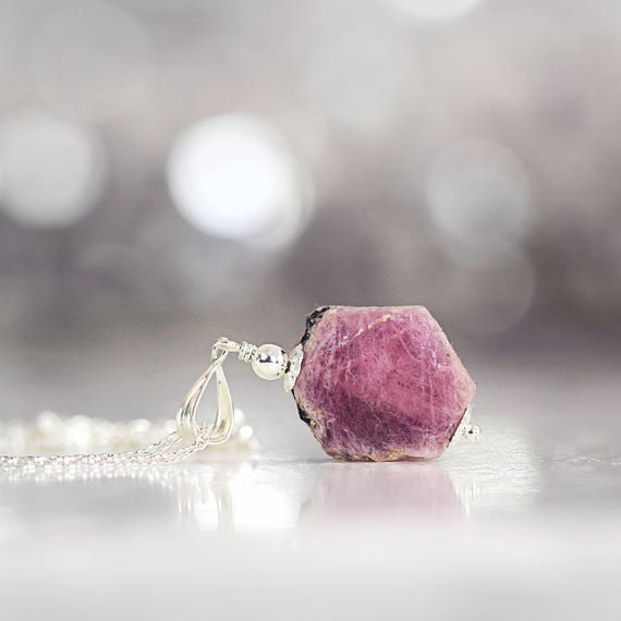 Raw Ruby Necklace - Rough Ruby Pendant