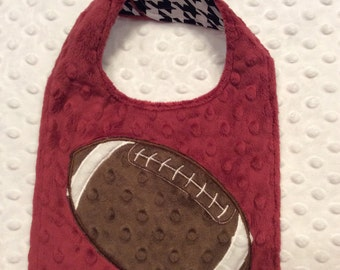 Crimson & Houndstooth Minky Football Bib, CLEARANCE SALE