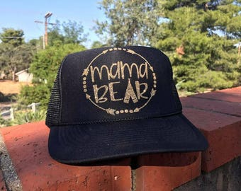 Mama Bear Trucker Hat Beach Hat Mom Hat Birthday Gift Sports Hat