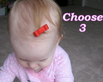 PICK 3 - baby hair clips - baby barrettes - infant hair clips - newborn hair clip - newborn hair bow - small hair clips - hair clip set mt