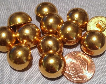 """12 Shiny Domed Gold Tone Plastic Shank Buttons 9/16"""" 15mm # 7611"""