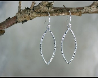 Hammered earrings, Leaf sterling silver earrings, Hammered silver dangle earrings,hammered Leaf, Marquise earrings, Silver hammered earrings