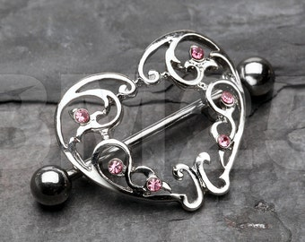 A Pair of Elegant Heart Ornate Nipple Shield Ring