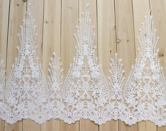 "1 Yards Lace Trim Alencon ivory Paillette Embroidery Floral Wedding 23.6"" Super Width High Quality"