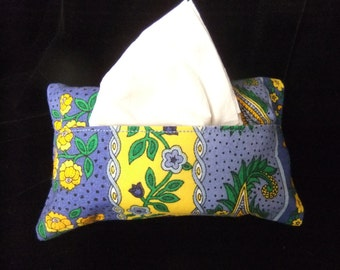 Pocket Tissue Holder, French Country Print in Blue, Yellow, and Green
