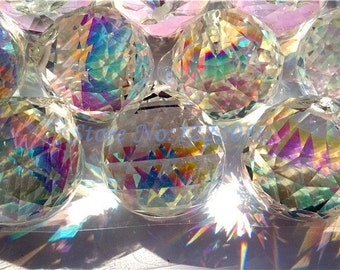 5 - 40mm Asfour AB Chandelier Crystal Ball Chandelier Prisms - Iridescent FULL Lead Crystal Faceted Ball (S-18)
