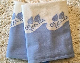 Floursack Pillowcases - Blue All Cotton - Standard Queen or King